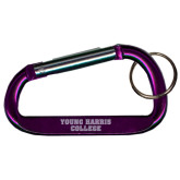 Purple Carabiner with Split Ring-Young Harris College Engraved