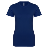 Next Level Ladies SoftStyle Junior Fitted Navy Tee-Select-A-Logo