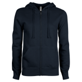 ENZA Ladies Navy Fleece Full Zip Hoodie-Select-A-Logo