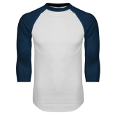 White/Navy Raglan Baseball T Shirt-Select-A-Logo