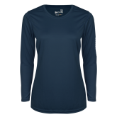 Ladies Syntrel Performance Navy Longsleeve Shirt-Select-A-Logo