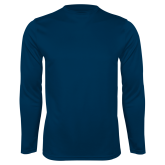 Performance Navy Longsleeve Shirt-Select-A-Logo