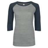 ENZA Ladies Athletic Heather/Navy Vintage Triblend Baseball Tee-Select-A-Logo
