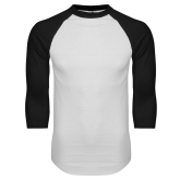 White/Black Raglan Baseball T-Shirt-Select-A-Logo
