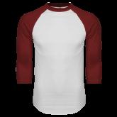 White/Cardinal Raglan Baseball T Shirt-Select-A-Logo
