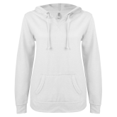 ENZA Ladies White V Notch Raw Edge Fleece Hoodie-Select-A-Logo