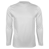 Performance White Longsleeve Shirt-Select-A-Logo
