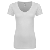 Next Level Ladies Junior Fit Deep V White Tee-Select-A-Logo