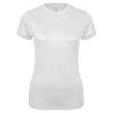 Ladies Syntrel Performance White Tee-Select-A-Logo
