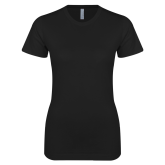 Next Level Ladies SoftStyle Junior Fitted Black Tee-Motto Logos