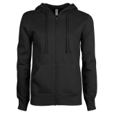 College ENZA Ladies Black Fleece Full Zip Hoodie-Select-A-Logo