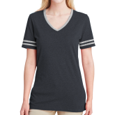 Ladies Black Heather/Grey Tri Blend Varsity Tee-Select-A-Logo