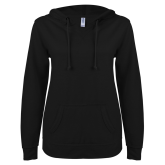 ENZA Ladies Black V Notch Raw Edge Fleece Hoodie-Select-A-Logo