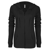 ENZA Ladies Black Light Weight Fleece Full Zip Hoodie-Select-A-Logo