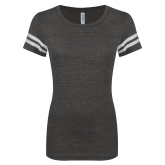 ENZA Ladies Black/White Vintage Triblend Football Tee-Select-A-Logo