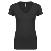 Next Level Ladies Vintage Black Tri Blend V Neck Tee-Select-A-Logo