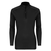 Ladies Syntrel Interlock Black 1/4 Zip-Select-A-Logo