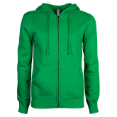 ENZA Ladies Kelly Green Fleece Full Zip Hoodie-Select-A-Logo