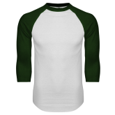 White/Dark Green Raglan Baseball T-Shirt-Select-A-Logo