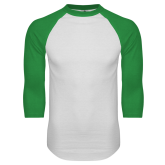 White/Kelly Green Raglan Baseball T Shirt-Select-A-Logo