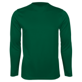 Performance Dark Green Longsleeve Shirt-Select-A-Logo