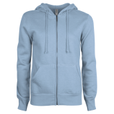 ENZA Ladies Light Blue Fleece Full Zip Hoodie-Select-A-Logo