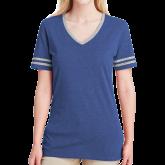 Ladies Royal Heather/Grey Tri Blend Varsity Tee-Select-A-Logo