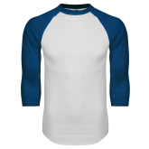 White/Royal Raglan Baseball T Shirt-Select-A-Logo