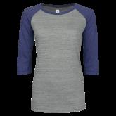 ENZA Ladies Athletic Heather/Blue Vintage Baseball Tee-Select-A-Logo