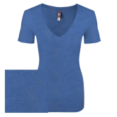 Next Level Ladies Vintage Royal Tri Blend V Neck Tee-Select-A-Logo