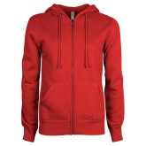 ENZA Ladies Red Fleece Full Zip Hoodie-Select-A-Logo