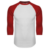White/Red Raglan Baseball T Shirt-Select A Logo