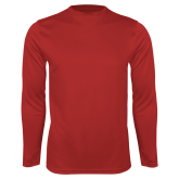 Performance Red Longsleeve Shirt-Select-A-Logo