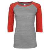 ENZA Ladies Athletic Heather/Red Vintage Triblend Baseball Tee-Select-A-Logo