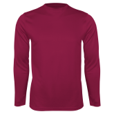 Performance Maroon Longsleeve Shirt-Select-A-Logo