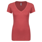 Next Level Ladies Vintage Red Tri Blend V Neck Tee-Select-A-Logo