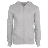Ladies Grey Fleece Full Zip Hoodie-Select-A-Logo