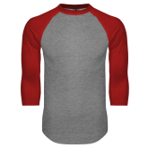 Grey/Red Raglan Baseball T Shirt-Select-A-Logo