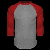 Grey/Red Raglan Baseball T Shirt-Select-A-Logo
