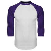 White/Purple Raglan Baseball T Shirt-Select-A-Logo