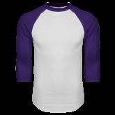 ACU Wildcat White/Purple Raglan Baseball T Shirt-Select-A-Logo