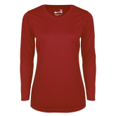 Ladies Syntrel Performance Cardinal Longsleeve Shirt-Select-A-Logo