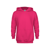 Youth Raspberry Fleece Hoodie-Select-A-Logo