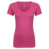 Next Level Ladies Junior Fit Deep V Pink Tee-Select-A-Logo