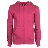 ENZA Ladies Fuchsia Fleece Full Zip Hoodie-Select-A-Logo