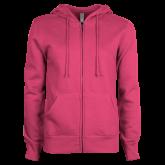 ENZA Ladies Fuchsia Fleece Full Zip Hoodie-Select-A-Logo