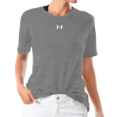 Ladies Under Armour Heather Grey Triblend Tee-Select-A-Logo