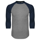 Grey/Navy Raglan Baseball T Shirt-Select-A-Logo