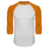 White/Orange Raglan Baseball T Shirt-Select-A-Logo