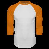 White/Orange Raglan Baseball T Shirt-Select-A-Logo
